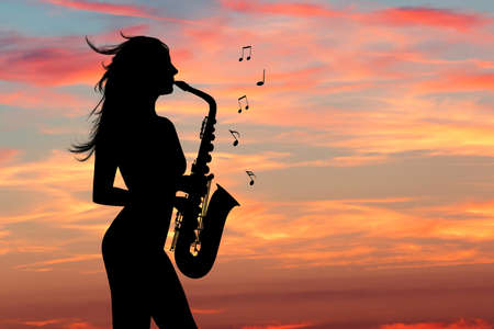 illustration of girl plays the sax
