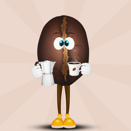 Funny coffee bean with coffee pot Imagens - 113596959