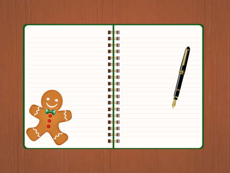 Notebook and Christmas biscuit