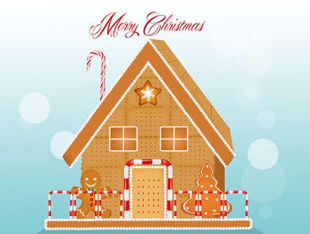 Christmas postcard with marzipan house