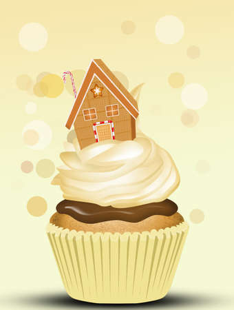 cupcake with marzipan house