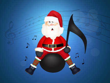 Christmas concert with Santa Claus on musical note Stockfoto