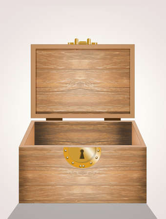 illustration of wooden chest
