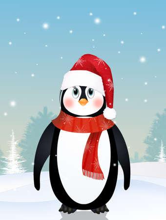 cute penguin in winter 写真素材