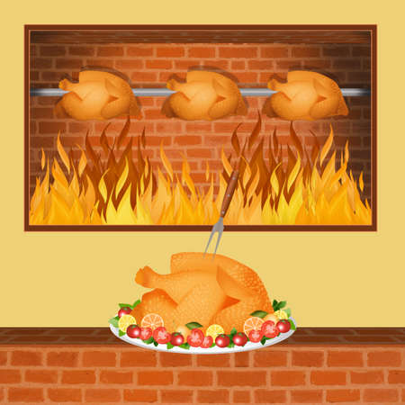 illustration of roast chicken Stock Photo
