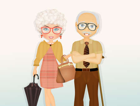 illustration of grandparents Stock Illustration - 114975490