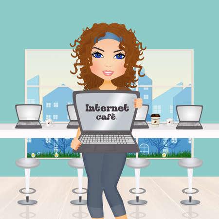 illustration of girl in internet cafe