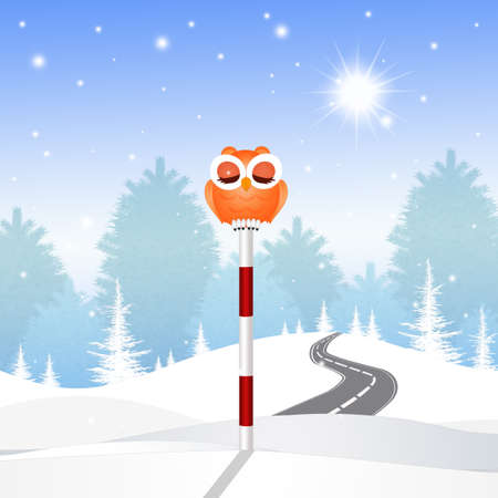 illustration of funny owl on pole sign