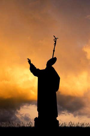 illustrazione del papa al tramonto Archivio Fotografico