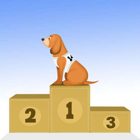 Illustration of dog on podium