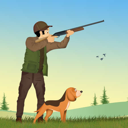 Man hunting with the dog