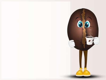 funny illustration of coffee bean Imagens - 116438089