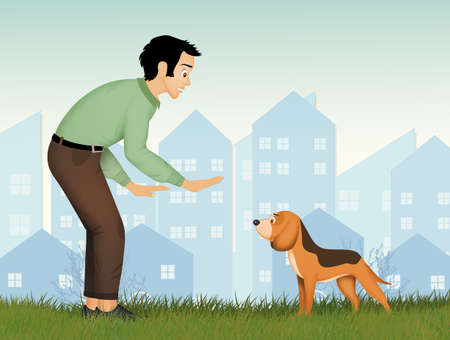 illustration of dog training