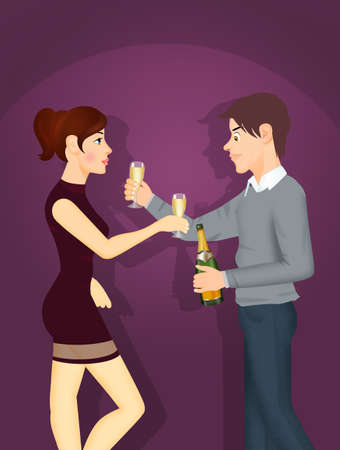 couple uncork bottle for toast Stock Photo