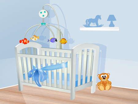 illustration of baby bedroom Stok Fotoğraf