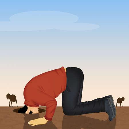 illustration de l'homme autruche avec sa tête dans le sable