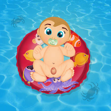 funny baby on lifebuoy in the water Foto de archivo - 116438503