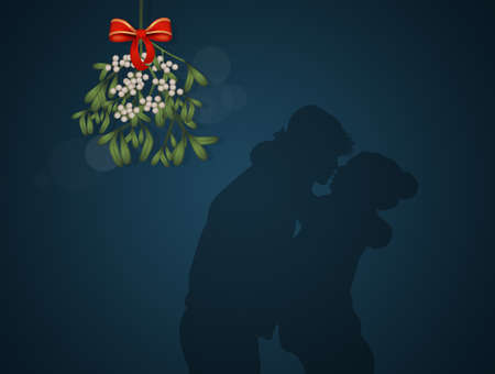 couple kissing under the mistletoe for the New Year