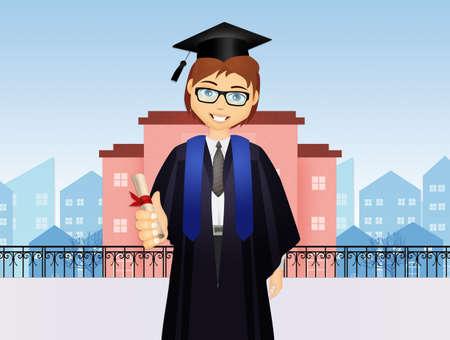boy with parchment for graduation Reklamní fotografie