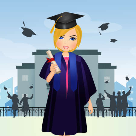 blonde girl with graduation