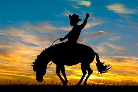 man on a rodeo horse at sunset