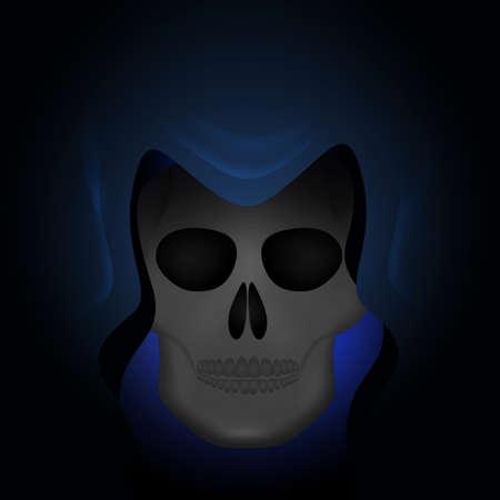 illustration of skull dead mask in the darkness