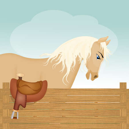 horse in the stable Imagens