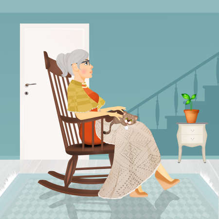 illustration of grandmother sitting on rocking chair Stock Photo