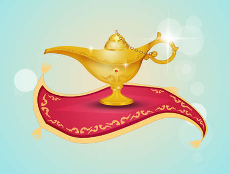 Aladdin lamp on the flying carpet 写真素材 - 119486571