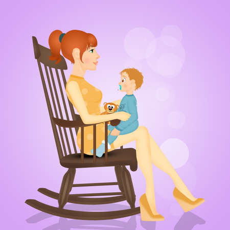 mother with baby on rocking chair