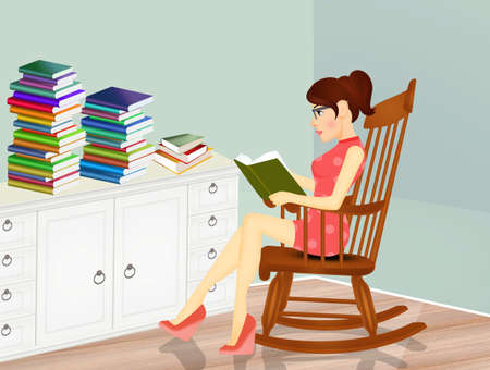woman reads many books