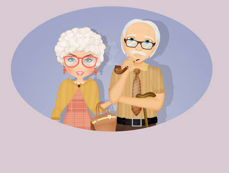 illustration of grandmother adn grandfather Stockfoto