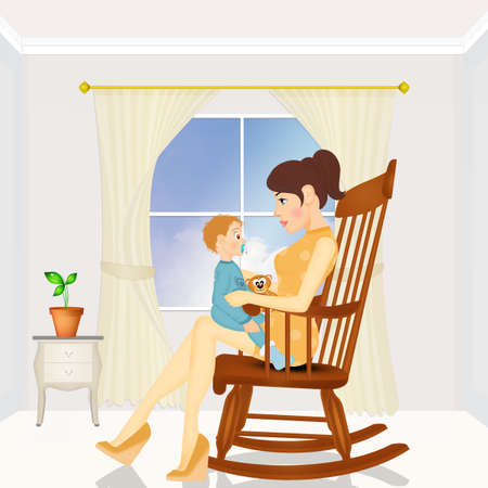 mom wit son on chair