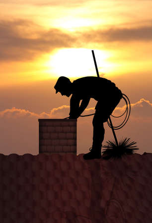 chimney sweep at sunset