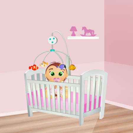 baby female in the cot Banco de Imagens - 119486753