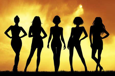 silhouette of women Фото со стока