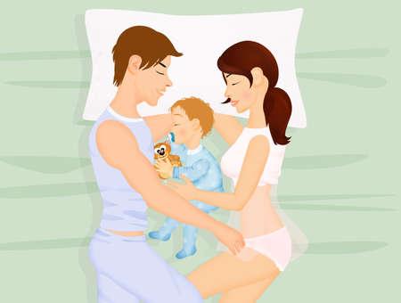 family sleeps with newborn Archivio Fotografico - 120834141