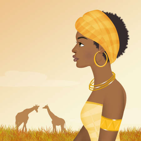 African girl in the giungle