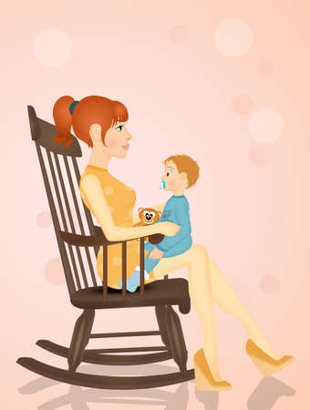 mom with baby on rocking chair