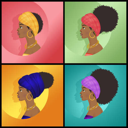 illustration of various hairstyles of the Afro woman Stock Photo