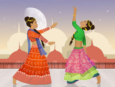 two women dancing the Bollywood Indian dance Archivio Fotografico