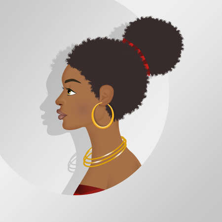 illustration of portrait of a Afro woman Stock Photo