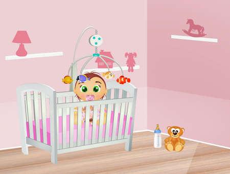 baby sleeps in the cot in the bedroom