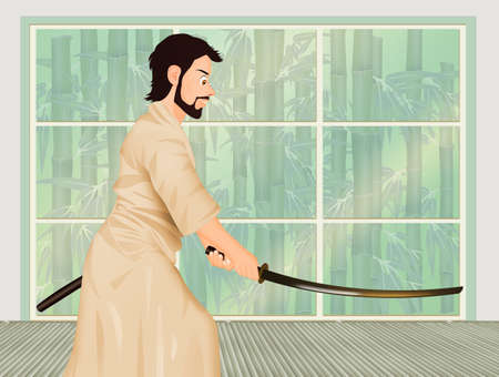 illustration of aikido demonstration with sword Stock Photo