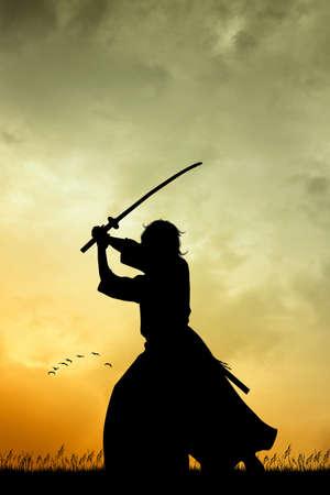 Samurai at sunset Stock Photo