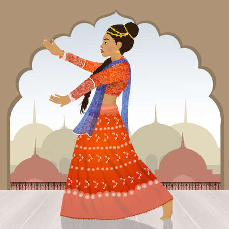 girl dancing the Indian Bollywood Stock Photo