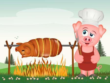illustration of pork cooking pork