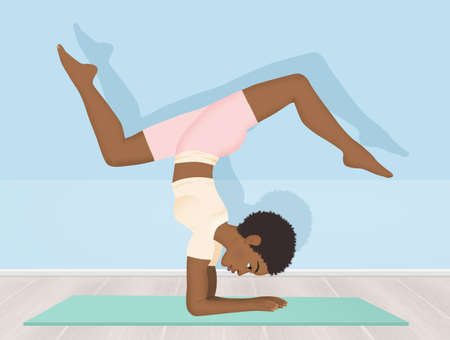 illustration of black woman doing yoga Stock Photo