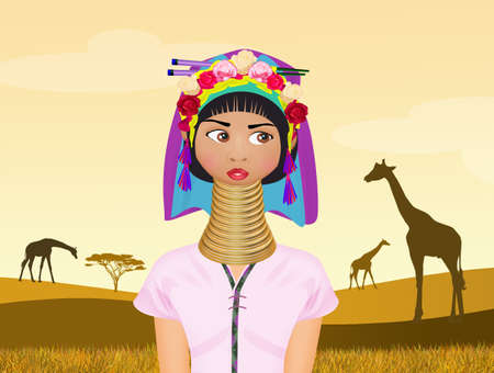 illustration of woman giraffe