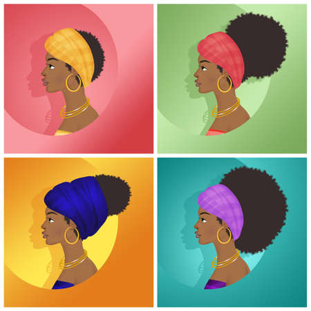 various hairstyles of the African woman Stock fotó - 121708971